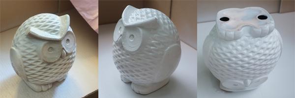 Ceramic Owl Spray Painting Process