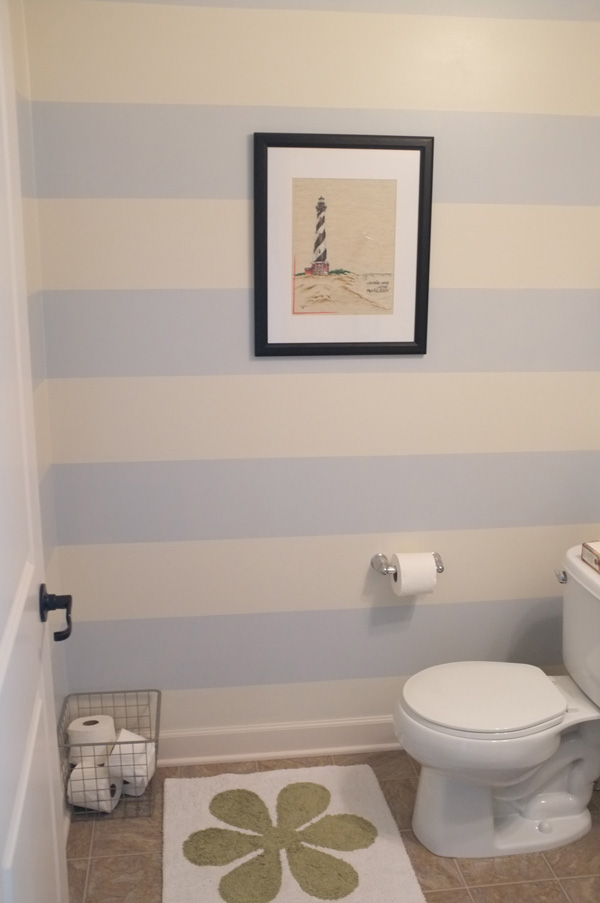 Striped Walls In A Small Half Bathroom