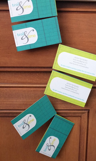 Teal and Lime Business Cards