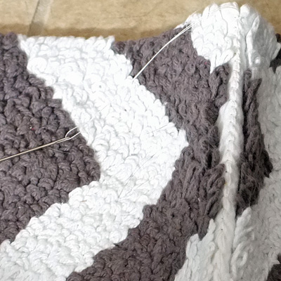 Stitching bath mats together