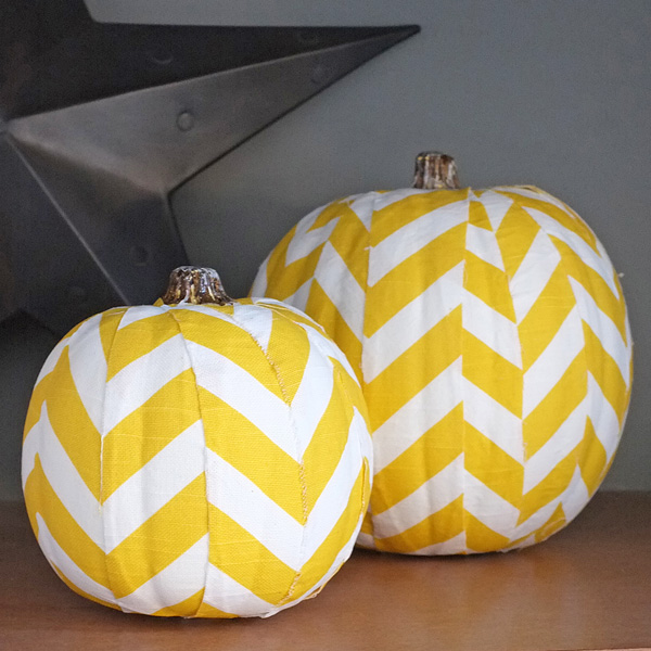 Yellow Chevron Decoupaged Pumpkins