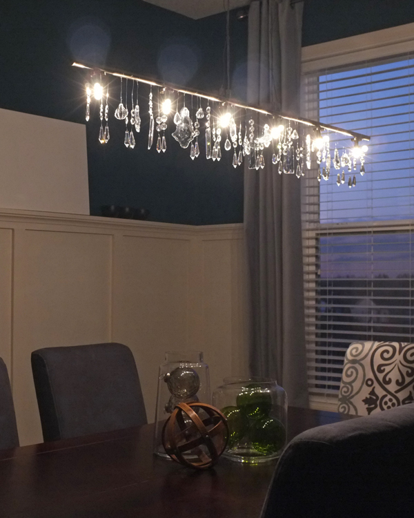 DIY linear crystal chandelier