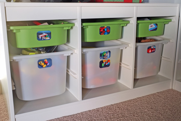 toy storage with photo labels. Black Bedroom Furniture Sets. Home Design Ideas