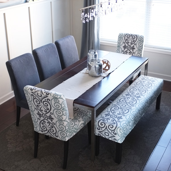 Dining Room Table With A Bench: Easy Bench Slipcover