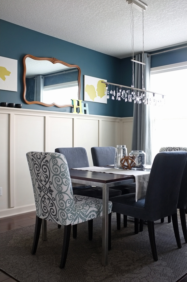 Modern Romantic Teal Dining Room