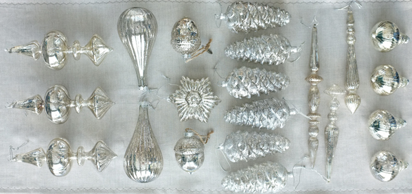 Mercury Glass Ornaments pinecones
