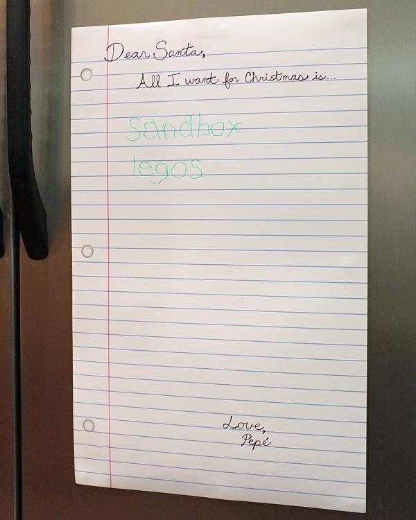 Dear Santa Dry Erase Board