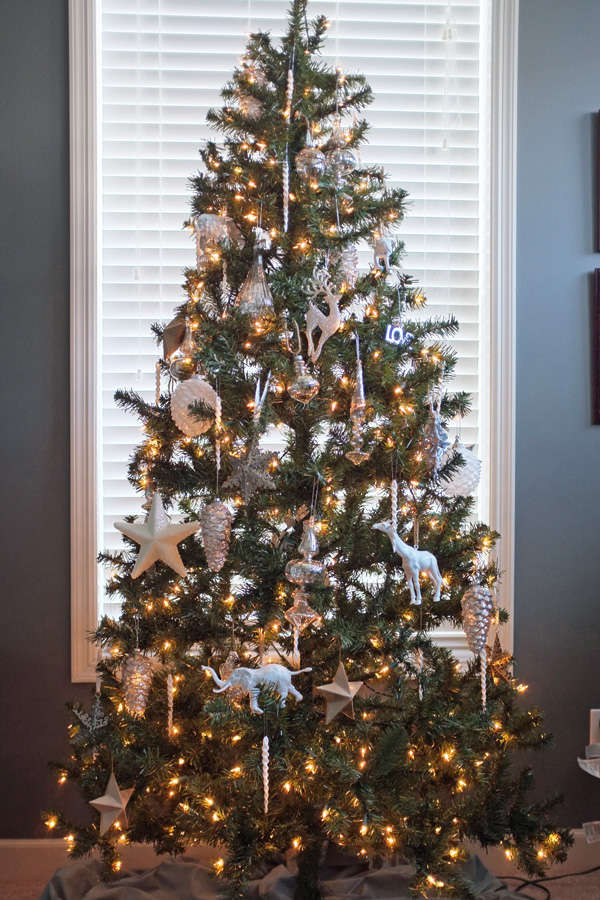 mercury glass and white christmas tree - Mercury Glass Christmas Decorations