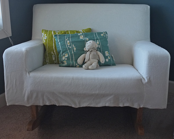 Modern Nursery Rocker with Velour Slipcover