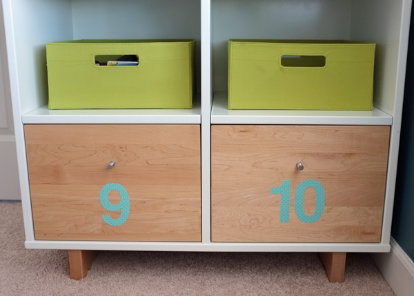Numbered Dresser Drawers