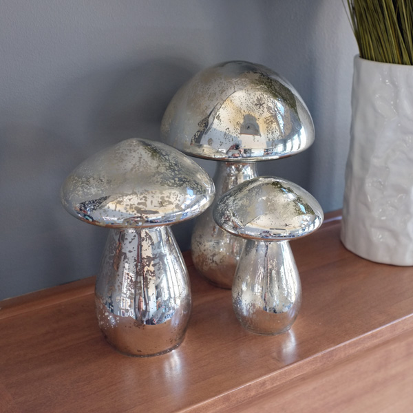 West Elm Mercury Glass Mushrooms