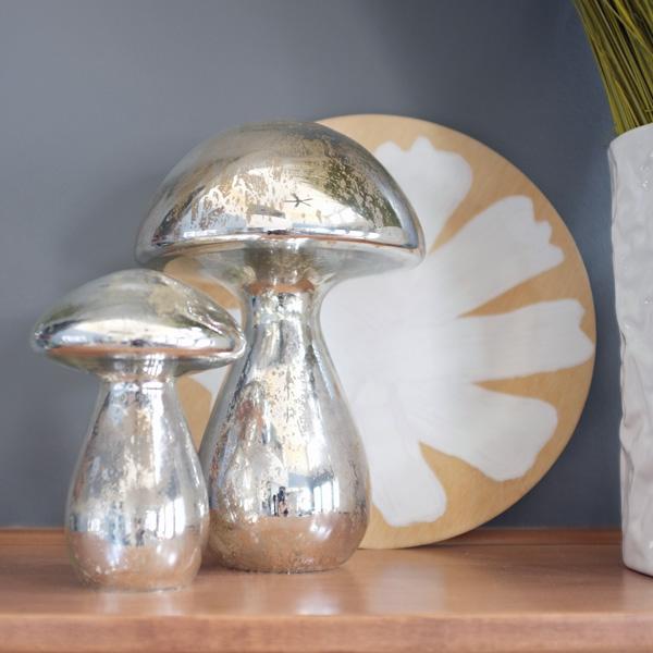 Spring Mantel with mercury glass mushrooms
