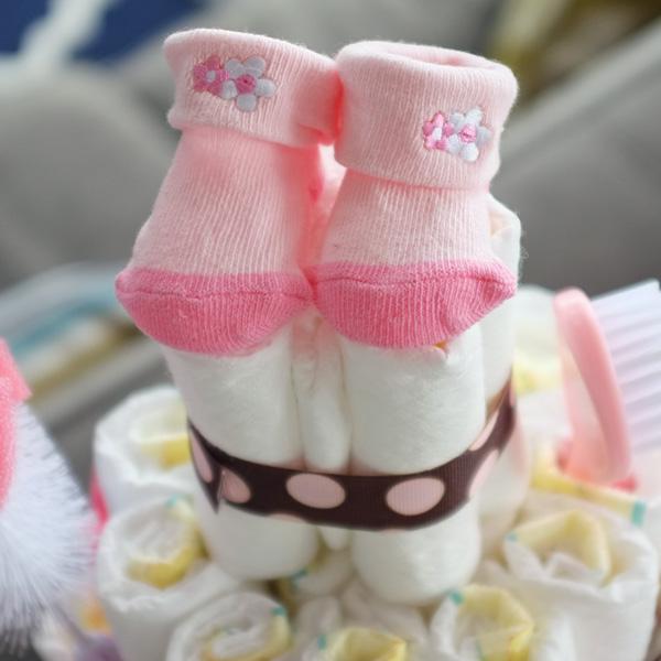 Baby Sock Diaper Cake Topper