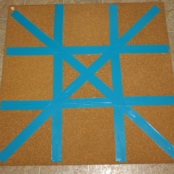 Taping together cork tiles