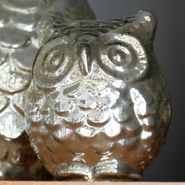 Small Mercury Glass Owl