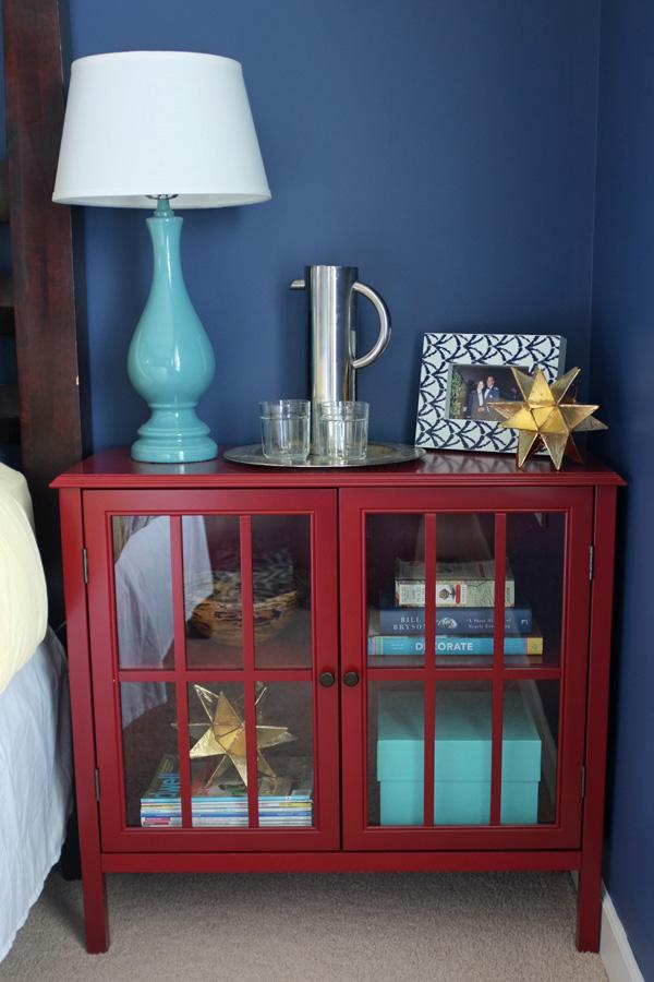 Red Glass Door Cabinet Nightstand