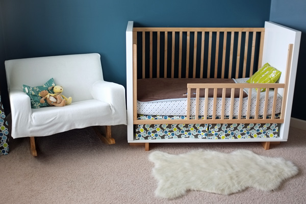 Crib converted to toddler bed