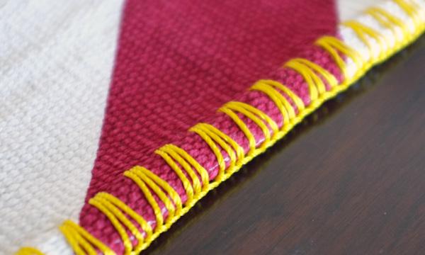 Red Chevron Rug with Blanket Stitch Edge