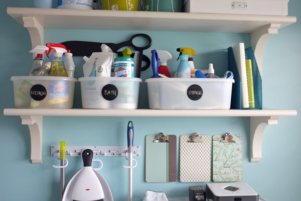 Organized home cleaning supplies
