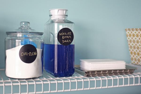 Pretty Glass Laundry Room Storage