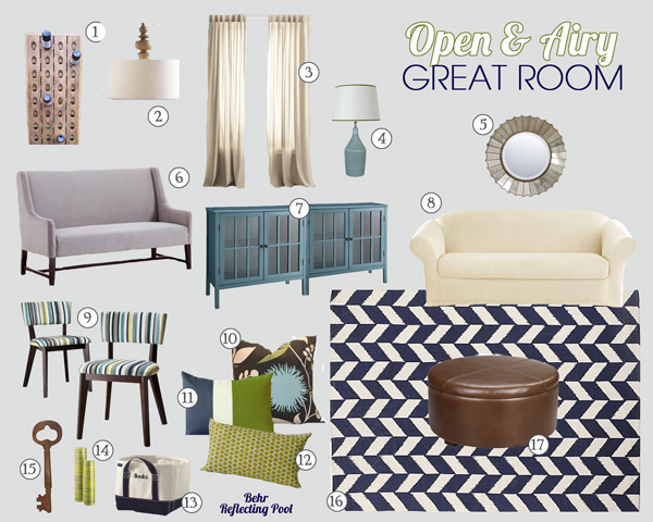 blue and green living room mood board