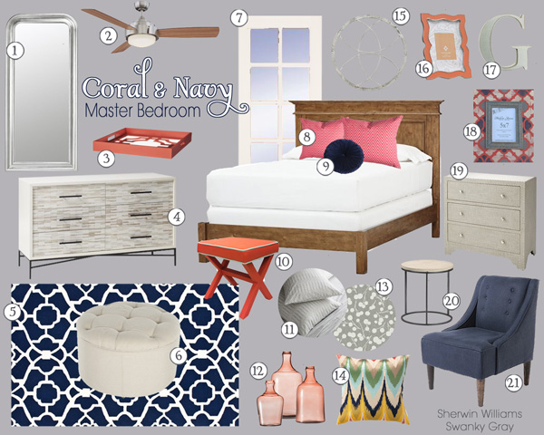 Coral NavyBedroom. Decorating Tip  Accessories are Flexible