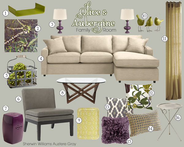 Before After Olive Aubergine Living Room