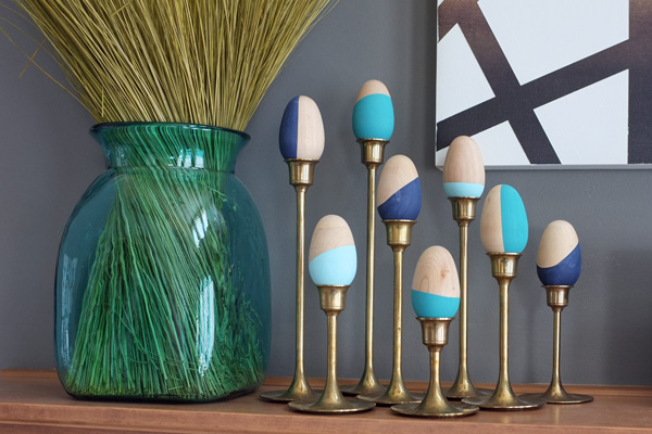 Color-blocked wooden Easter eggs