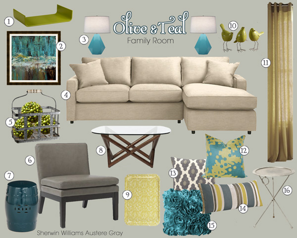 Grey And Teal Living Room before & after: olive & aubergine living room