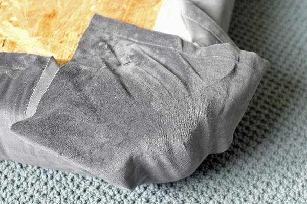 no-sew upholstered cushion corner