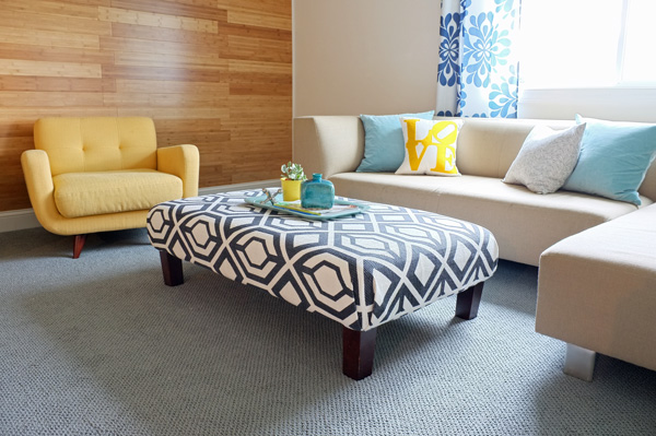 The Graphic Charcoal And White Patterned Ottoman Looks Beautiful With Our Yellow Armchairs Gray Might Just Be One Of Awesomest Color