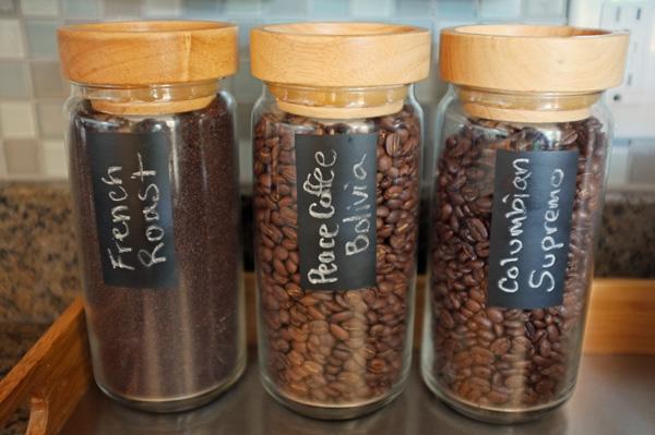 chalkboard labeled jars
