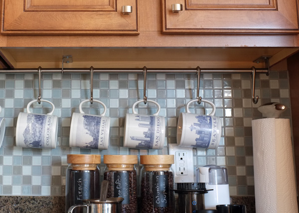 under cabinet coffee mug rack countertop coffee bar 27464
