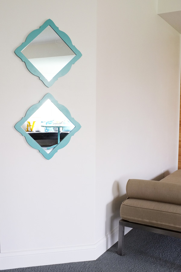 hang square mirrors diagonally