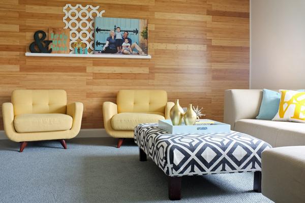 Genius! Bamboo flooring on the wall.