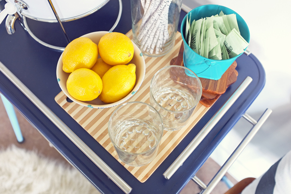 DIY Bar Cart top shelf