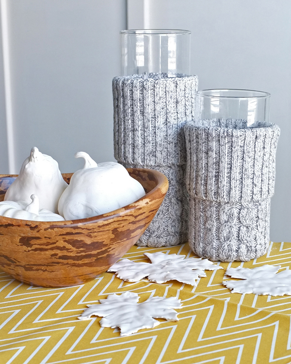 DIY Sweater Vases and Plaster Dipped Fall Decor