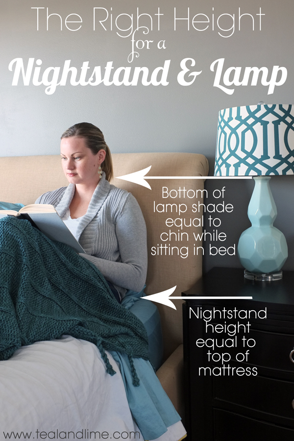 The Right Height For A Nightstand And Lamp Tealandlime First Your Should Be