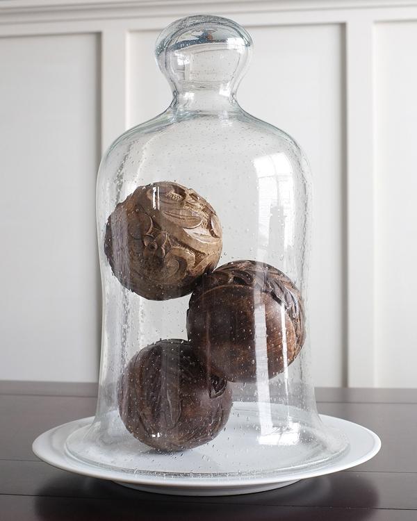 Wooden Balls Under a cloche