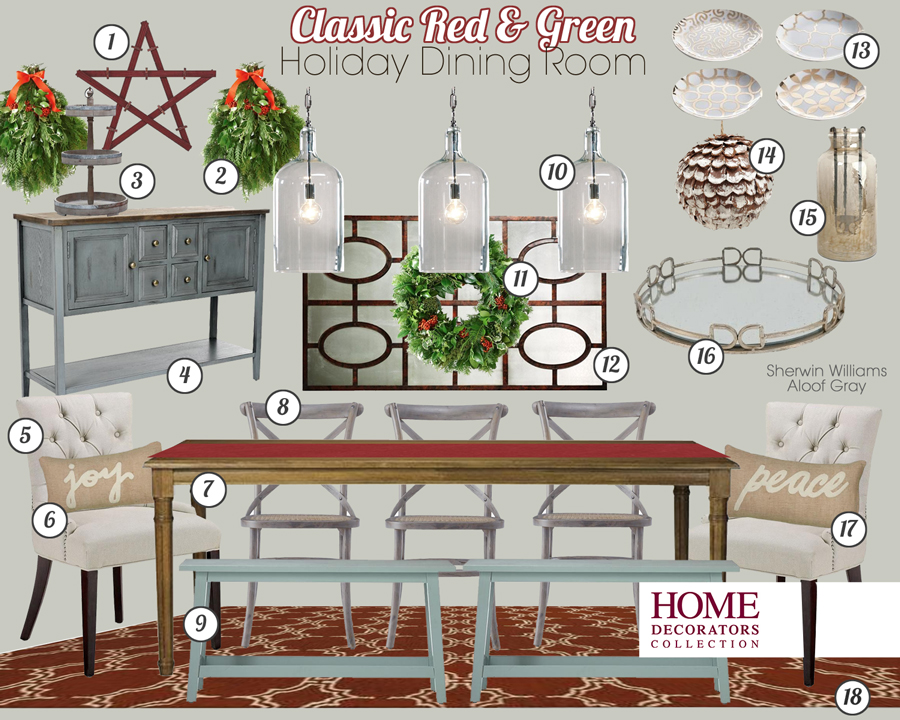 Classic Holiday Dining Room Mood Board from the Home Decorators Collection