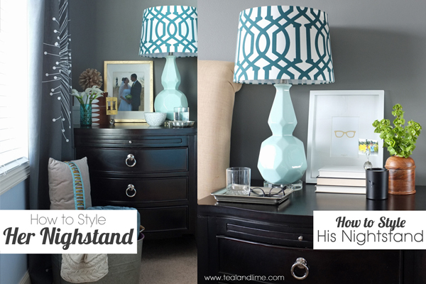 How to Coordinate His and Hers Nightstands | tealandlime.com