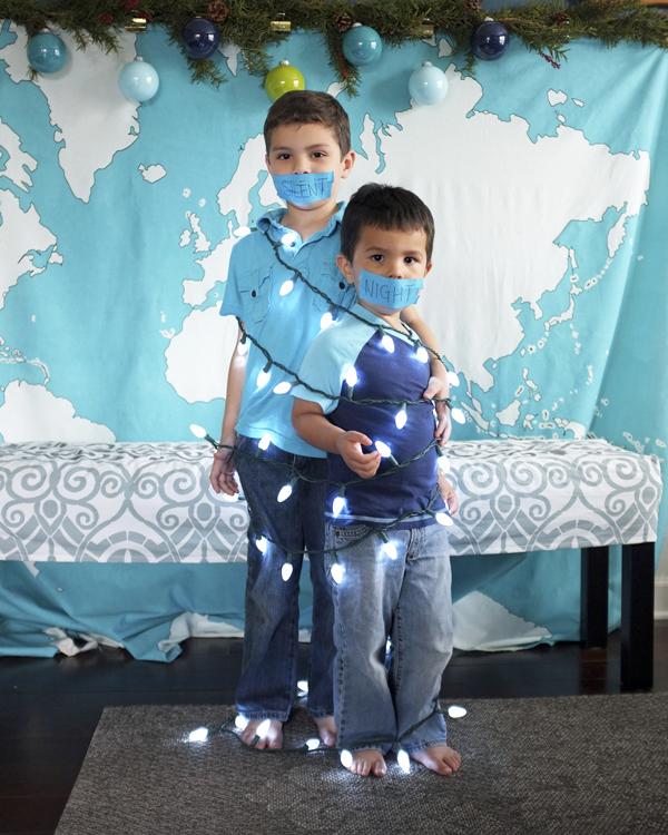 DIY Holiday Card - Silent Night Kids Pose