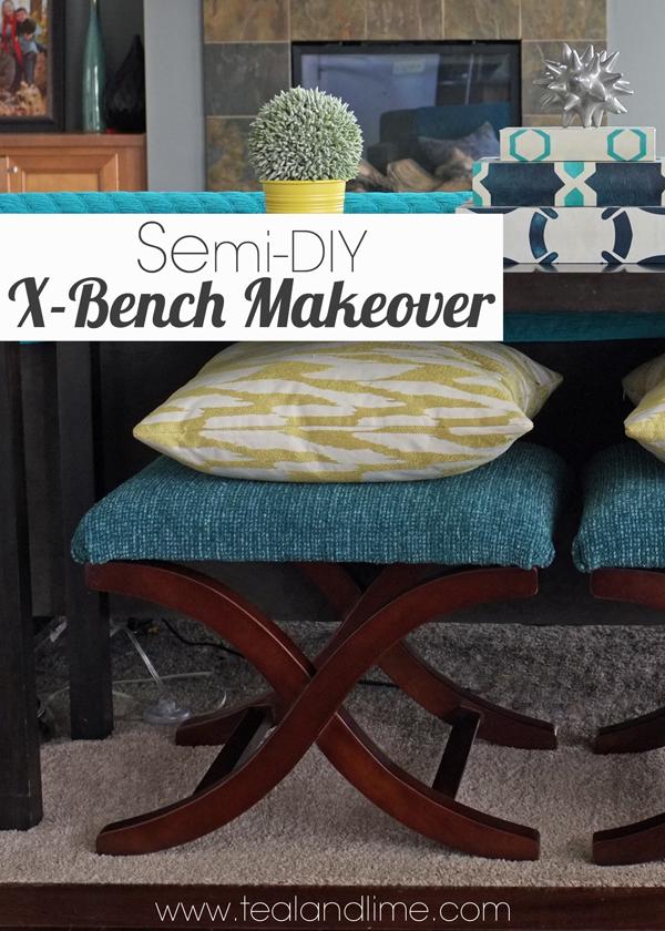 Easy X Bench Makeover | tealandlime.com