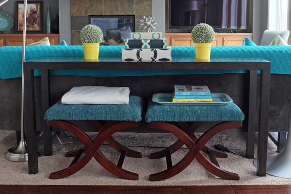 Console Table With Stools ~ Semi diy bench school of decorating by jackie hernandez