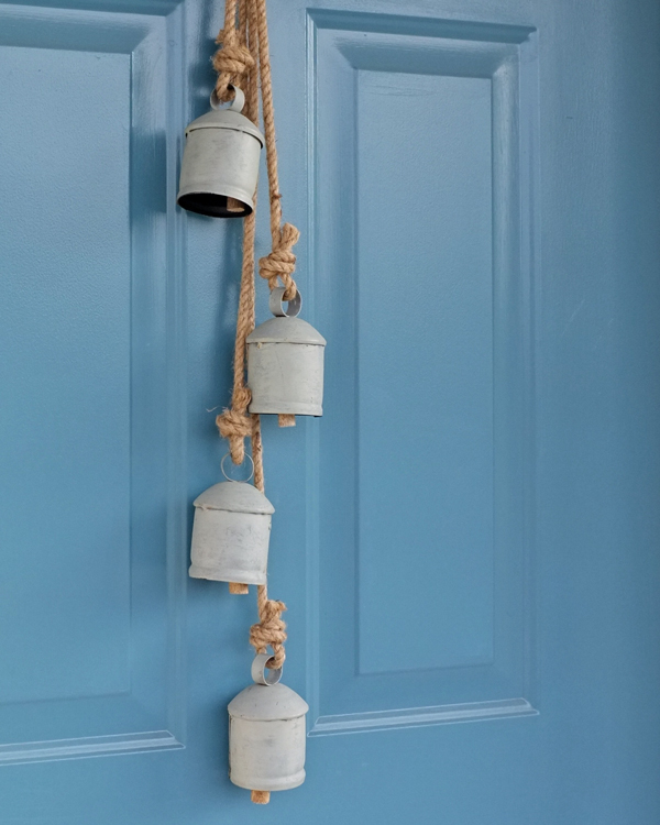 Temple Bells on Front Door | tealandlime.com