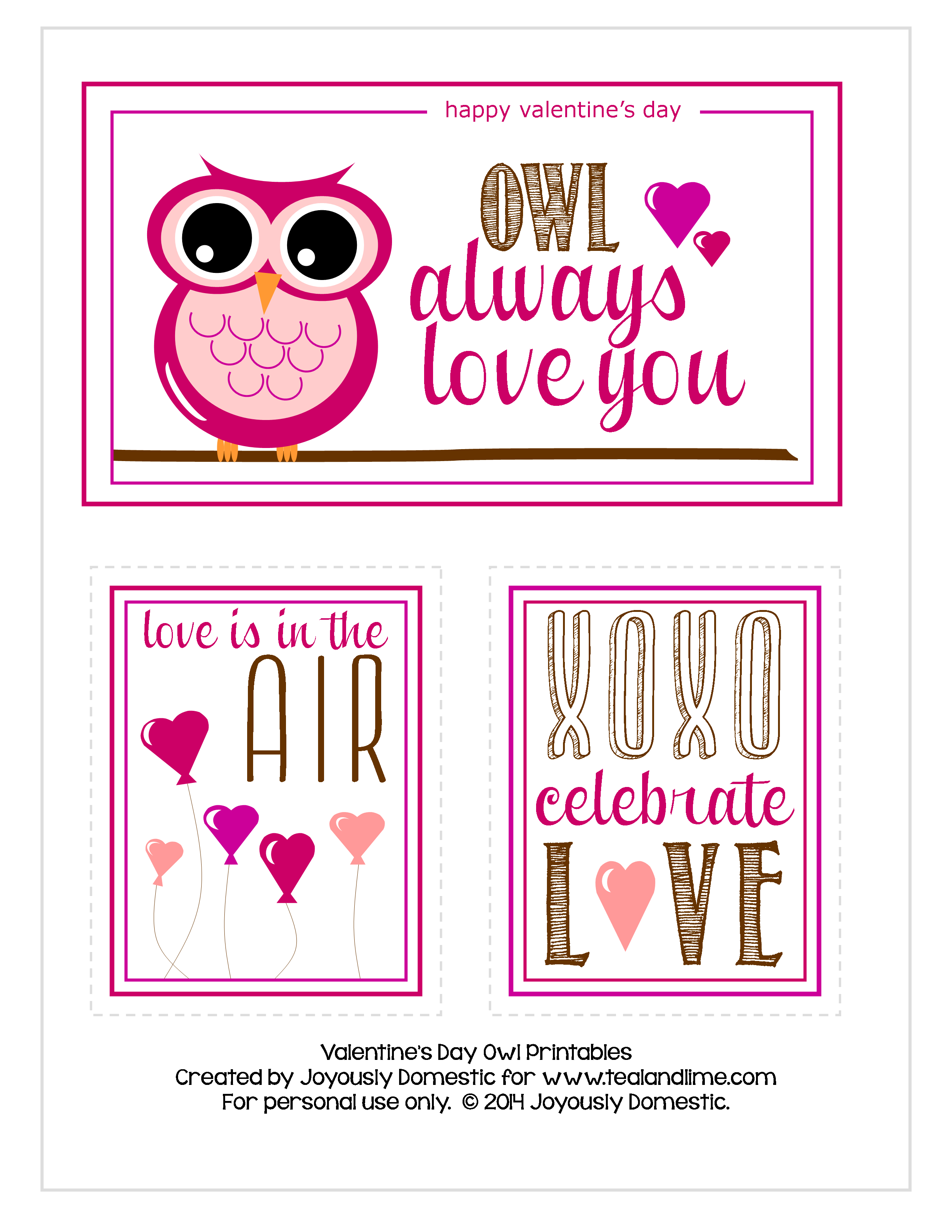 The Only Printables You Need for All Your Valentines and theyre – Owl Valentines Day Cards