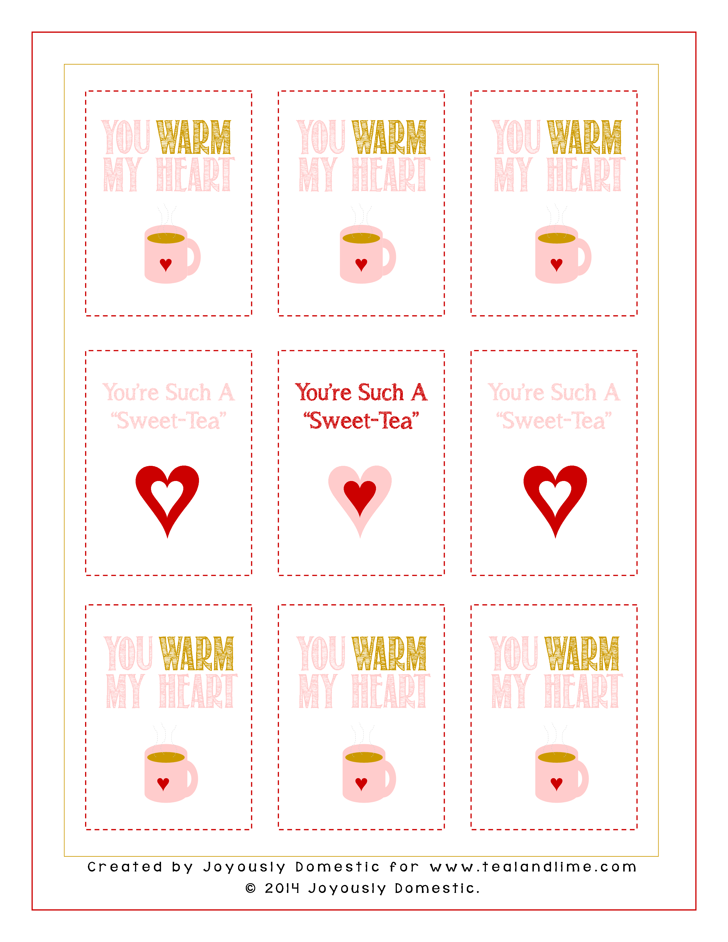 Valentines Day Tea Printable by Joyously Domestic for tealandlime.com