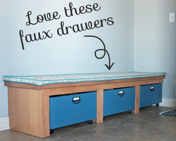 Check out this amazing plan for making faux drawers in the mudroom | Organized with Annie for tealandlime.com