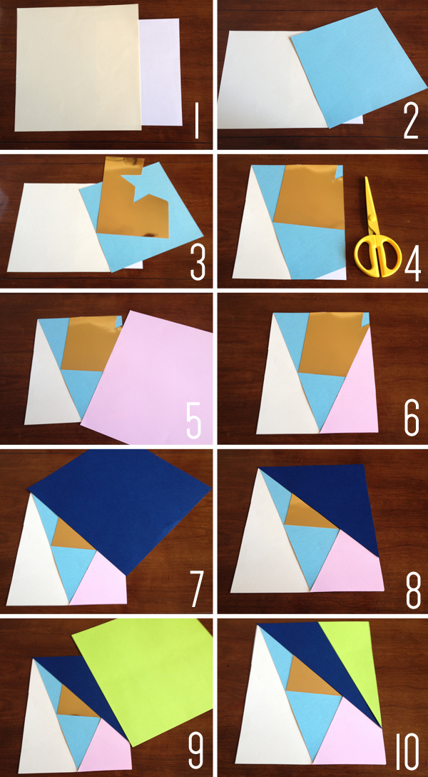 Use up your paper scraps and make simple color block art by Two Live Colorfully for tealandlime.com