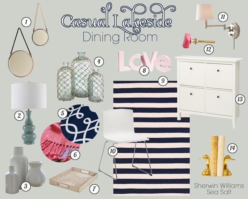 Casual Lakeside Dining Room Mood Board | tealandlime.com